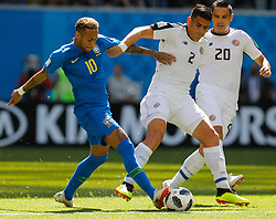 June 22, 2018 - Saint Petersburg, Russia - Neymar (L) of Brazil national team vies for the ball with Johnny Acosta and David Guzman (R) of Costa Rica national team during the 2018 FIFA World Cup Russia group E match between Brazil and Costa Rica on June 22, 2018 at Saint Petersburg Stadium in Saint Petersburg, Russia. (Credit Image: © Mike Kireev/NurPhoto via ZUMA Press)