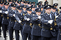 Members of the Garda Siochana parade outside the GPO in O'Connell Street during the 1916 centenary celebrations.<br />Photo: Tony Gavin 27/3/2016