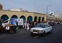 CASABLANCA, MOROCCO - CIRCA APRIL 2017: Avenue Des Far, a major artery around the Medina in Casablanca