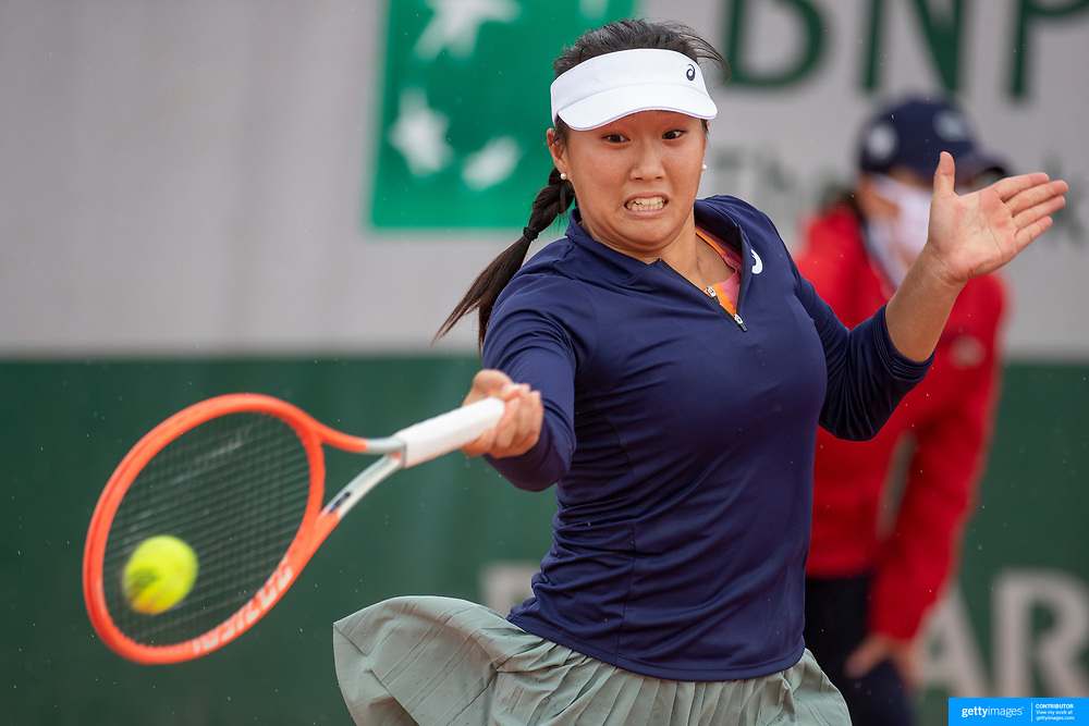 PARIS, FRANCE May 25.  Claire Liu of the United States in action during her victory against Rebecca Marino of Canada on the second day of the qualifying tournament at the 2021 French Open Tennis Tournament at Roland Garros on May 25th 2021 in Paris, France. (Photo by Tim Clayton/Corbis via Getty Images)