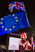 Remain protesters pro-EU listen to speech by Anna Soubry MP while gathering in Westminster before the result of MPs Meaningfull Brexit vote which eventually brought about a massive defeat for Prime Minister Theresa Mays Conservative government, on 15th January 2019, in Westminster, London, England.
