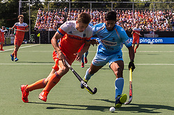 (L-R) Thijs van Dam of The Netherlands, Varun Kumar of India during the Champions Trophy match between the Netherlands and India on the fields of BH&BC Breda on June 30, 2018 in Breda, the Netherlands