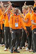 Nederlandse Olympische ploeg komt thuis en wordt gehuldigd op het plein voor Station Den Bosch.<br /> <br /> Op de foto: Brian Mariano