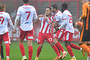 GOAL Stevenage forward Elliott List(17) scores a goal 1-1 and celebrates during the The FA Cup match between Stevenage and Hull City at the Lamex Stadium, Stevenage, England on 29 November 2020.