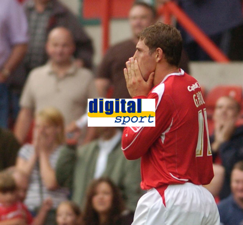 Photo: Leigh Quinnell.<br /> Nottingham Forest v Carlisle United. Coca Cola League 1. 16/09/2006. Forests Grant Holt can't belive that he has missed a penalty.