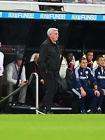 NEWCASTLE UPON TYNE, ENGLAND - SEPTEMBER 17: Steve Bruce of Newcastle United looks glum during the Premier League match between Newcastle United and Leeds United at St. James Park on September 17, 2021 in Newcastle upon Tyne, England. (Photo by MB Media)