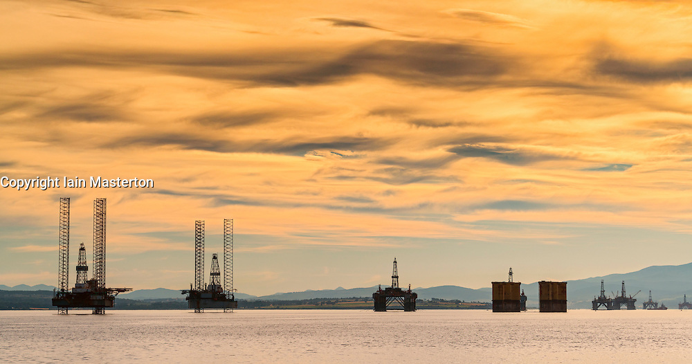 Oil rigs/ drilling platforms moored in Cromarty Firth in Ross and Cromarty, Highland, Scotland, United Kingdom