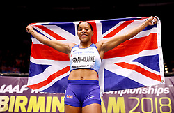 Great Britain's Shelayna Oskan-Clarke celebrates winning bronze in the Women's 800 metres during day four of the 2018 IAAF Indoor World Championships at The Arena Birmingham.