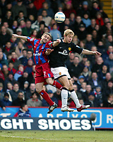 Photo. Chris Ratcliffe, Digitalsport<br /> Crystal Palace v Manchester United. Barclays Premiership. 05/03/2005<br /> Michael Hughes of Palace and Alan Smith of United go up for this aerial ball
