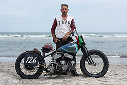 Fabrizio Iacono came all the way from Italy with his 45 inch Harley-Davidson Flathead racer to TROG (The Race Of Gentlemen). Wildwood, NJ. USA. Sunday June 10, 2018. Photography ©2018 Michael Lichter.
