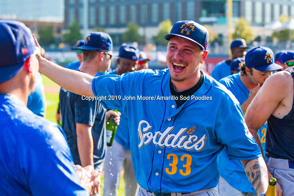Amarillo Sod Poodles pitcher Lake Bachar (33) celebrates after the win against the Tulsa Drillers during the Texas League Championship on Sunday, Sept. 15, 2019, at OneOK Field in Tulsa, Oklahoma. [Photo by John Moore/Amarillo Sod Poodles]