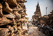 Wood for cremation at the burning ghats, Varanasi, Uttar Pradesh, India