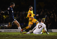 Newport County's Robbie Willmott has a shot saved by Southend United's Daniel Bentley<br /> <br /> Photo by Kevin Barnes/CameraSport<br /> <br /> Football - The Football League Sky Bet League Two - Southend United v Newport County - Friday 31st January 2014 - Roots Hall - Southend<br /> <br /> © CameraSport - 43 Linden Ave. Countesthorpe. Leicester. England. LE8 5PG - Tel: +44 (0) 116 277 4147 - admin@camerasport.com - www.camerasport.com