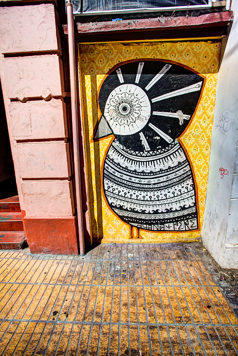 Decorative street art in the form of a bird in downtown Valparaíso, Chile.