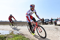 Sven Erik BYSTROM (Nor) Team Katusha (Rus) during training on april 9 prior to the famous cycling race Paris Roubaix with paving stones paths which will take place on april 12, 2015 - Photo Tim de Waele / DPPI