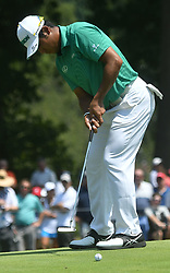 August 10, 2018 - St. Louis, Missouri, U.S. - ST. LOUIS, MO - AUGUST 10: Hideki Matsuyama putts on the #1 green during the second round of the PGA Championship on August 10, 2018, at Bellerive Country Club, St. Louis, MO.  (Photo by Keith Gillett/Icon Sportswire) (Credit Image: © Keith Gillett/Icon SMI via ZUMA Press)