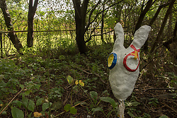 Portobello, Edinburgh's seaside suburb, is awash with Art. Almost everywhere you look there is something to see as the Art Walk Porty community art festival takes place, now extended to run over ten days covering the first two weekends of September. Pictured: 'Meadow Morphose' mythical creatures in Meadows Yard Local Nature Reserve created by Emma Macleod and Abi Lewis.<br /> <br /> <br /> © Jon Davey/ EEm