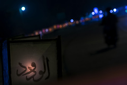 May 29, 2017 - Pekanbaru, Indonesia - Decorative lights along the road at the entrance of Istiqomah Mosque May 29, 2017 in Pekanbaru, Indonesia. Decorative Lamp is made to enliven the atmosphere in the holy month of Ramadan. (Credit Image: © Afrianto Silalahi/NurPhoto via ZUMA Press)