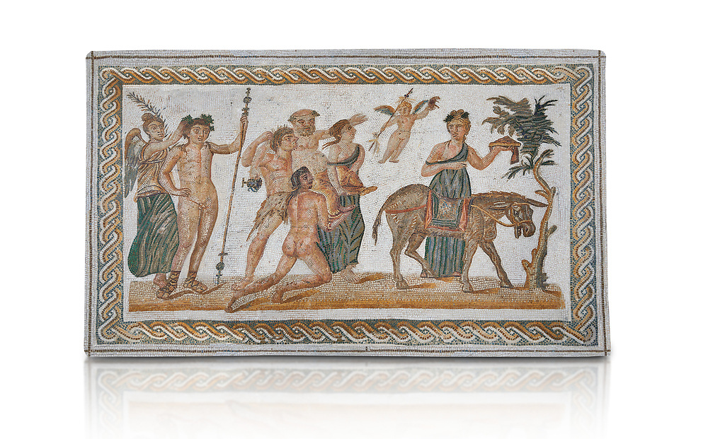 Picture of a Roman mosaics design depicting scenes from the Life of Dionysus, from the ancient Roman city of Thysdrus, House of Silenus. Late 2nd to early 3rd century AD. El Djem Archaeological Museum, El Djem, Tunisia. Against a white background<br /> <br /> In the central panel of this Roman mosaic the  teacher of Dionysus, Silenus, is being carried towards a donkey. .<br /> <br /> If you prefer to buy from our ALAMY PHOTO LIBRARY Collection visit : https://www.alamy.com/portfolio/paul-williams-funkystock/roman-mosaic.html . Type - El Djem - into the LOWER SEARCH WITHIN GALLERY box. Refine search by adding background colour, place, museum etc<br /> <br /> Visit our ROMAN MOSAIC PHOTO COLLECTIONS for more photos to download as wall art prints https://funkystock.photoshelter.com/gallery-collection/Roman-Mosaics-Art-Pictures-Images/C0000LcfNel7FpLI