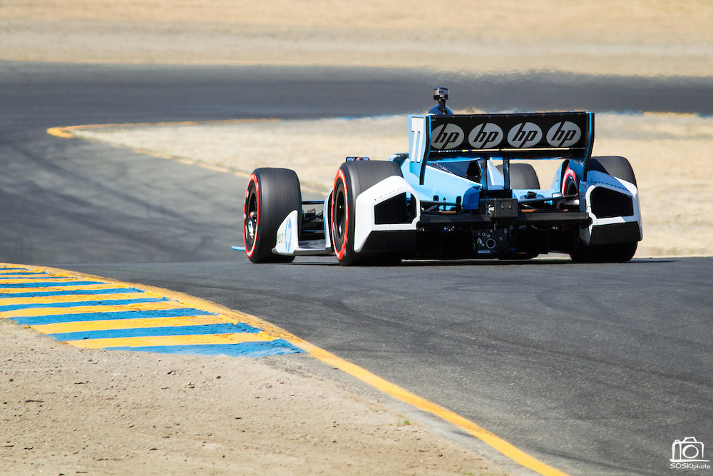 Simon Pagenaud, #77, flies down a hill to turn 4 during the GoPro Indy Grand Prix of Sonoma at Infineon Raceway in Sonoma, Calif., on Aug. 26, 2012.  Photo by Stan Olszewski/SOSKIphoto.