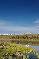 Swan Lake, full moon, Yellowstone National Park