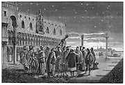 Galileo Galilei (1564-1642) demonstrating his telescope, Venice, 1609. In this artist's reconstruction Galileo, Italian astronomer, mathematician and physicist, is showing his telescope to the Doge and the Venetian Senators. From  'Vies des Savants Illustres' by Louis Figuier (Paris, 1870)