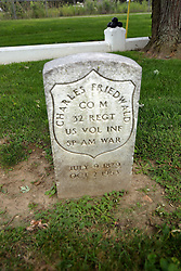 26 August 2017:   A part of the History of McLean County Illinois.<br /> <br /> Tombstones in Evergreen Memorial Cemetery.  Civic leaders, soldiers, and other prominent people are featured. Section 5, the old town soldiers area<br /> Charles Friedwald  Co M  32 REGT  US Vol INF  Spanish American War  July 9, 1879  Oct 2 1963