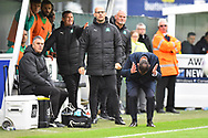 Plymouth Argyle manager Derek Adams shows his emotions during the EFL Sky Bet League 1 match between Plymouth Argyle and AFC Wimbledon at Home Park, Plymouth, England on 6 October 2018.