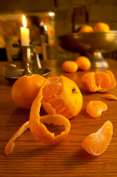 Clementines in a rustic country kitchen setting