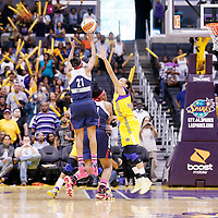 03 August 2014: Connecticut Sun guard Renee Montgomery (21) takes a jump shot over Los Angeles Sparks guard/forward Armintie Herrington (22) during the Los Angeles Sparks 70-69 victory over the Connecticut Sun, at the Staples Center, Los Angeles, California, USA.