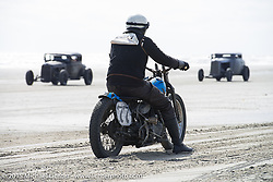 "Josh Kohn on his 1937 Harley-Davidson 45"" Flathead at the Race of Gentlemen. Wildwood, NJ, USA. October 10, 2015.  Photography ©2015 Michael Lichter."