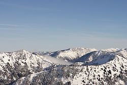 North America, United States, Washington, snow covered ridges at Crystal Mountain ski resort
