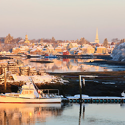 A lobster boat in Portsmouth Harbor in Portsmouth, New Hampshire.  Winter.
