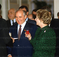 British Prime Minister Margaret Thatcher seen with President Michail Gorbachev during a visit to the Kremlin in Moscow,Russia in 1987.