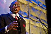 College Football Hall of Fame member and former NFL player John Wooten speaks during the third-annual SportsDayHS' football Heroes Banquet at the Omni Hotel on Thursday, January 17, 2013 in Dallas, Tx. (Cooper Neill/The Dallas Morning News)