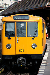 Berlin S Bahn passenger train at station in Kreuzberg Berlin 2009