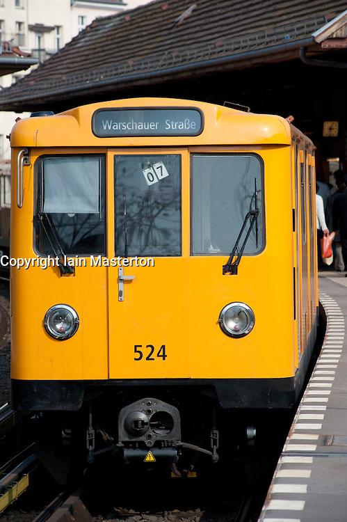 Berlin S Bahn passenger train at station in Kreuzberg Berlin 2009
