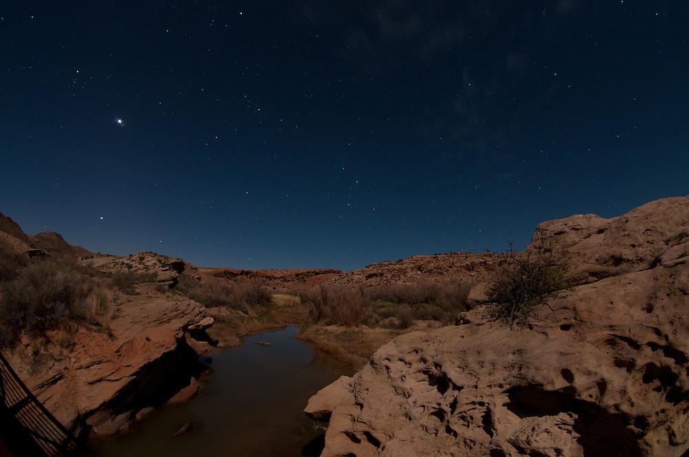 Salt Wash Under Stars at Night, Arches National Park, Utah, US