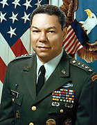 Colin Luther Powell born April 5, 1937 American statesman and a retired four-star general in the United States Army. He was the 65th United States Secretary of State (2001–2005), serving under President George W. Bush. He was the first African American appointed to that position.[1][2][3][4] During his military career, Powell also served as National Security Advisor (1987–1989), as Commander of the U.S. Army Forces Command (1989) and as Chairman of the Joint Chiefs of Staff (1989–1993),