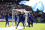 Loic Damour of Cardiff city © leads the celebrations after Junior Hoilett of Cardiff city (hidden) scores his teams 2nd goal. EFL Skybet championship match, Cardiff city v Aston Villa at the Cardiff City Stadium in Cardiff, South Wales on Saturday 12th August 2017.<br /> pic by Andrew Orchard, Andrew Orchard sports photography.