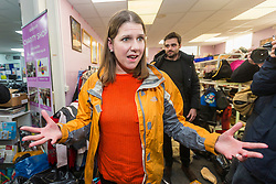 © Licensed to London News Pictures. 12/11/2019. Stainforth UK. Liberal Democrat leader Jo Swinson is visiting Stainforth in Yorkshire today to meet people affected by recent flooding. Jo is meeting the organisers of the charity Stainforth4All & helping to sort clothing. Photo credit: Andrew McCaren/LNP
