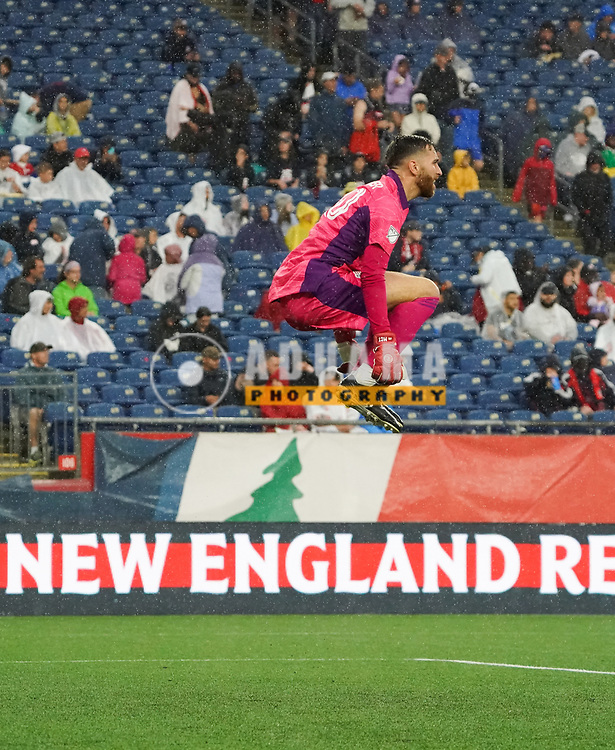 warms-up before New England Revolution and Nashville SC MLS match in FOXBORO, MA on Wednesday, August 4, 2021  The match ended in 0-0. CREDIT/ CHRIS ADUAMA