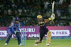 April 18, 2018 - Jaipur, Rajasthan, India - Kolkata Knight Riders batsman Robin Uthappa plays a shot during the IPL T20 match against Rajasthan Royals at Sawai Mansingh Stadium in Jaipur on 18 April,2018.(Photo By Vishal Bhatnagar/NurPhoto) (Credit Image: © Vishal Bhatnagar/NurPhoto via ZUMA Press)