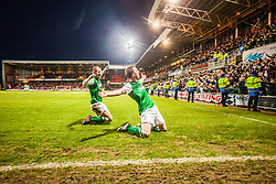 Hibernian's Liam Craig celebrates after scoring their second goal.<br /> Dundee United 2 v 2 Hibernian, Scottish Premiership game today at Tanadice.