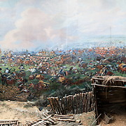 Full-width shot of the cylindrical painting at the Panorama of the Battle of Waterloo, built in 1912 for the centenery celebrations of the battle and situated next to the Butte du Lion (Lion's Mound) on the former battleground. The painting on the wall is 100 metres long and 12 metres high, painted by Louis Dumoulin, and a team of military artists. It portrays the battlefield at about 6 p.m. on June 18, 1815.