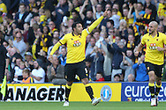 CELE : Troy Deeney, the Watford captain celebrates after scoring his sides 1st goal. Premier league match, Watford v AFC Bournemouth at Vicarage Road in Watford, London on Saturday 1st October 2016.<br /> pic by John Patrick Fletcher, Andrew Orchard sports photography.