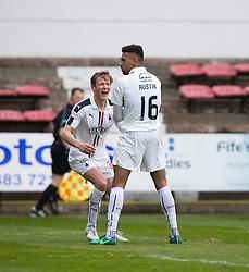Falkirk's Nathan Austin (16) celebrates after scoring their second goal. Dunfermline 1 v 2 Falkirk, Scottish Championship game played 22/4/2017 at Dunfermline's home ground, East End Park.
