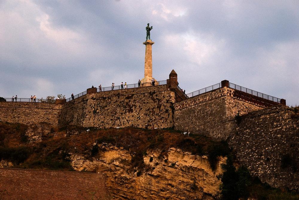 The Kalemegdan fortress seen from the Sava riverbank.