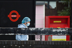 © Licensed to London News Pictures.  30/08/2021. London, UK. Forensic officers gather evidence after five people in thier late teens have been stabbed outside Harrow Civic Centre, west London around 4am. Two men are in hospital suffering serious injuries while other men and woman are also in hospital with less serous injuries. Photo credit: Marcin Nowak/LNP
