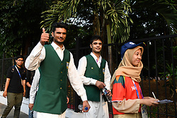JAKARTA, Aug. 18, 2018  Members of Pakistani delegation pose for pictures before the opening ceremony of the 18th Asian Games in Jakarta, Indonesia, Aug. 18, 2018. The opening ceremony of the 18th Asian Games will be held here on the evening of Aug. 18. (Credit Image: © Huang Zongzhi/Xinhua via ZUMA Wire)
